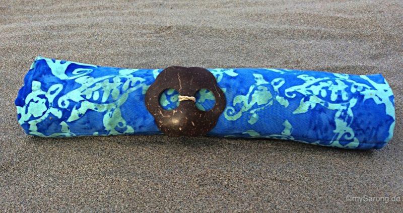 Sarong kornblumenblau mit Schildkröten