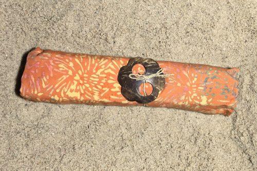 1-1001 Sarong kräftiges orange - Punkte & Striche braun & ocker