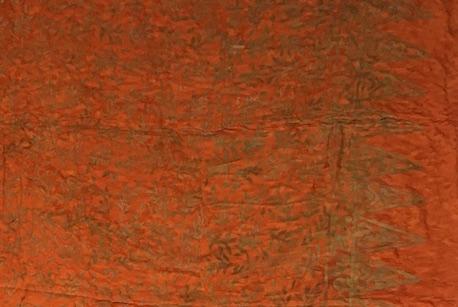 1-1016-2 Sarong Legian: kräftiges pudriges orange und Blätterzweige in ocker Verläufen