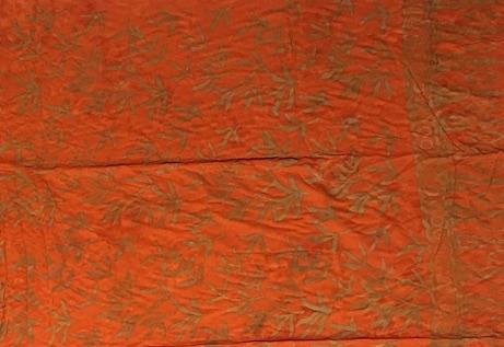 1-1016-2 Legian: kräftiges pudriges orange und Blätterzweige in ocker Verläufen