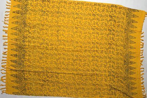 1-5002 Abang: gelb mit Blätterzweigen in braun-ocker