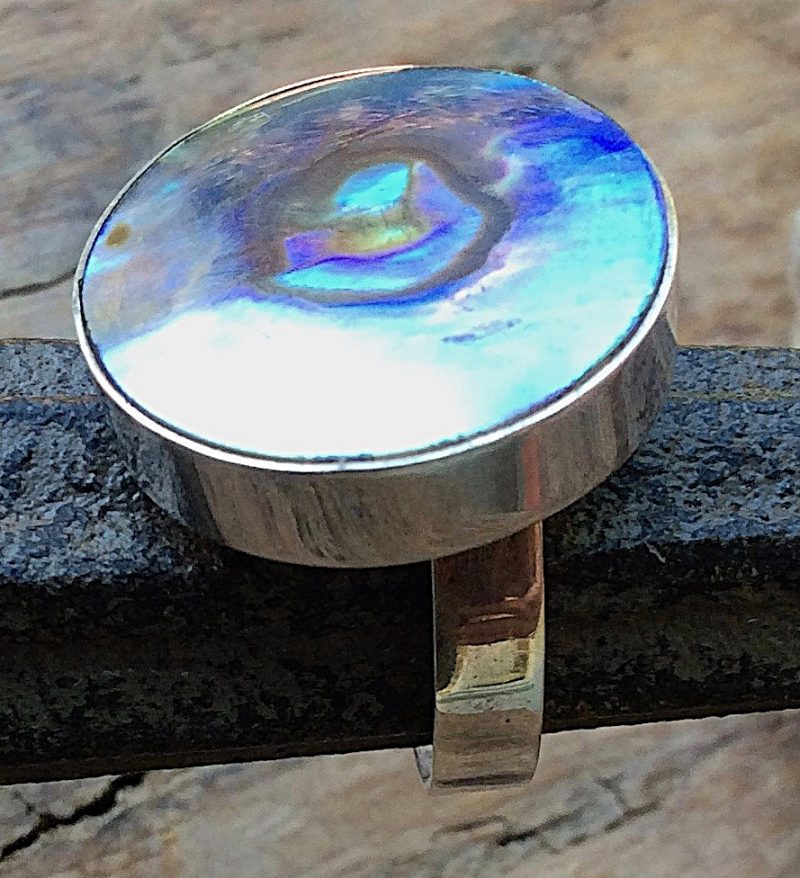 Silberring mit rundem Stein in Abalony Südseeperlmutt