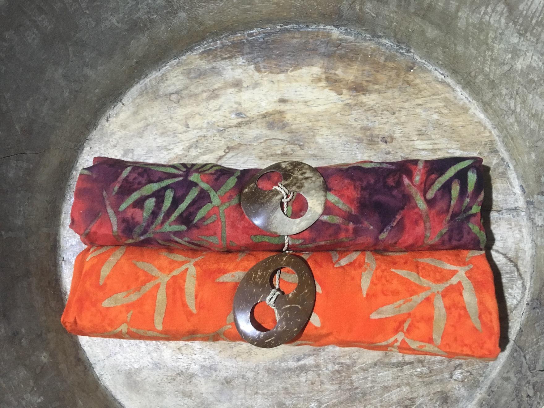 Zweier-Set Lombok: Blätterzweige auf rot & orange 1-9945