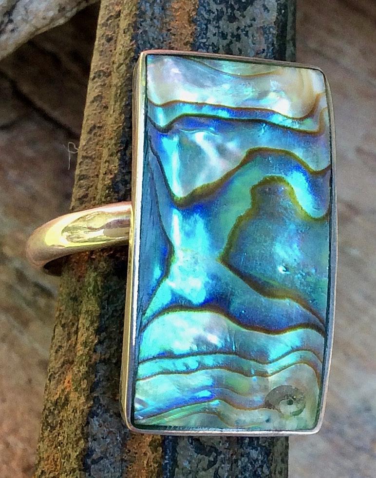 Silberring mit rechteckigem Stein in Abalony Südseeperlmutt