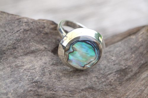 9-3711 Ring abalony rund Silberfassung