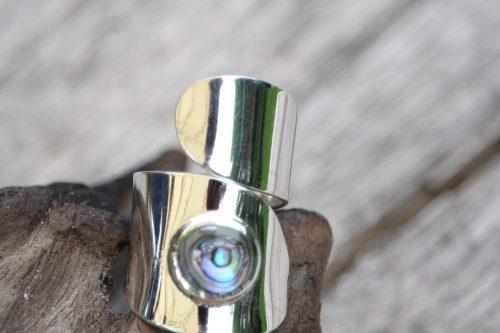 9-3713 Ring abalony auffällig Silberfassung