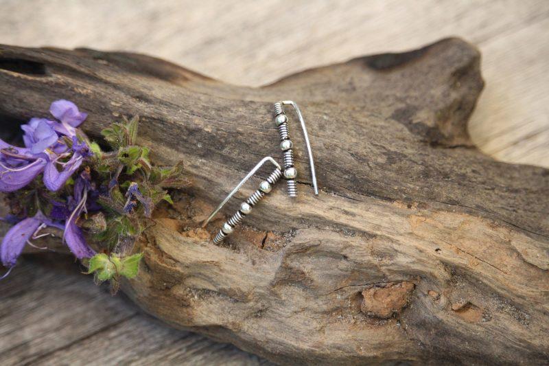9-4501 Ohrringe silber Kugel-Spirale