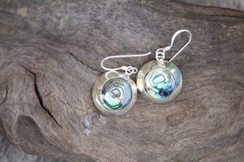 9-4508-2 Ohrringe abalony in Silberfassung rund