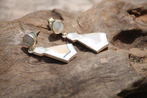 9-4521-1 Ohrringe perlmutt zweiteilig