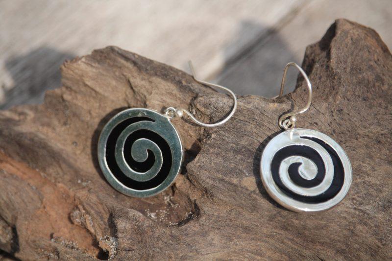 9-4519 Ohrringe schwarz:silber rund